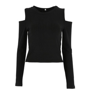 Froomer Women's Sexy Solid Off Shoulder Long Sleeve Crop Tops Black L