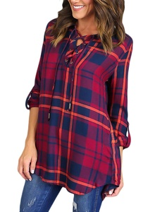 HOTAPEI Women's Casual Chiffon Blouse Cuffed Sleeve Plaid Top Shirts Red Large