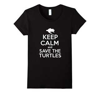 Women's Keep Calm And Save The Turtles Shirt Large Black