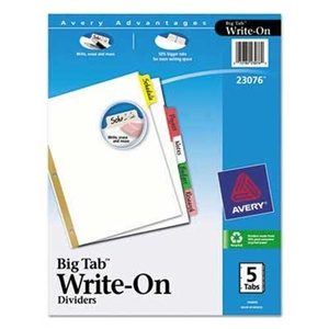 Avery Write & Erase Big Tab Paper Dividers, 5-Tab, Letter