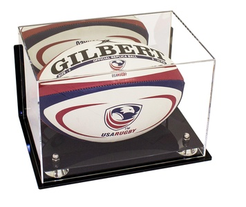 Deluxe Wall Mounted Acrylic Collectible Rugby Ball Display Case with Mirror with UV Protection (A004-SR)