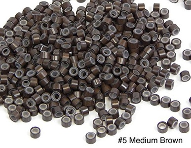 1000 PCS 5mm Medium Brown Color Silicone Lined Micro Rings Links Beads Linkies For I bonded Tipped Hair Extensions