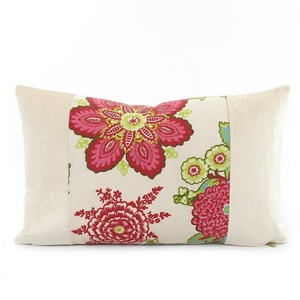 Chloe & Olive Encinitas Limited Edition Floral Print and Velvet Trim Designer Decorative Throw Toss Pillow with Insert - Handmade Custom Cushion - Red, Pink and Cream - 12x20