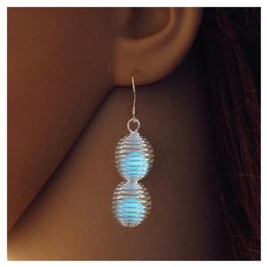 Glowing Drop Earrings Steampunk Silver Plated Bronze Jewelry Blue Green Color