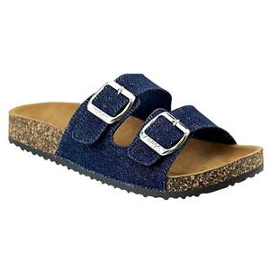 Women's Casual Buckle Straps Flip Flop Footbed Sandals (Denim Blue)