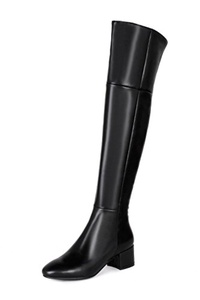 Nine Seven Genuine Leather Women's Round Toe Chunky Heel Zip Over The Knee Handmade Riding Boot (7.5, apricot)