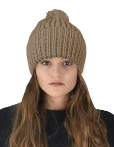 Peach Couture Classic Womens Warm Hand Knit Pom Thick Winter Ski Snowboard Hat (Coffee)