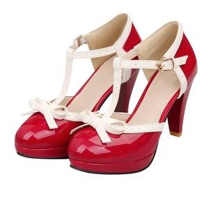 AIWEIYi Womens Fashion T Strap Bows Shoes Ladies Platform High Heel Pumps Shoes