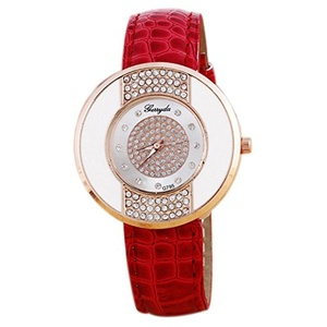 Rhinestone Wrist Watch - Gerryda Fashion Women Watch Leather Band Sport Analog Quartz Wrist Watch, Red