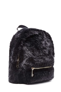 Faux Fur High-Polish Zip Mini Backpack