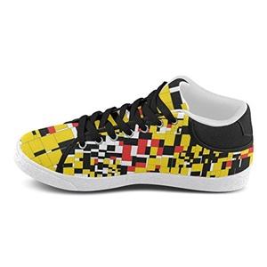 Thelma Lattice Mondrian Men's Chukka Casual Canvas Shoes Sneakers,White F