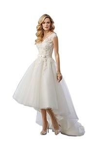 Sayadress Women's Lace Applique Tulle Hi-lo V-backless Bow Sash Bridal Dress Ivory US16