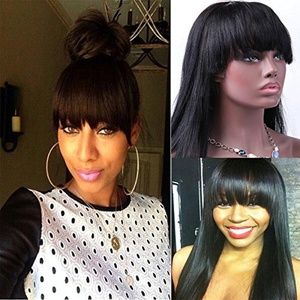 Freyja Hair 8A Unprocessed Brazilian Glueless Full Lace Human Hair Wigs Straight with Bangs 150% Density Lace Wigs with Baby Hair for Black Women (16 inch,1B)