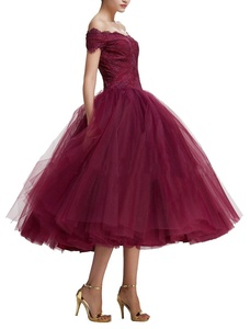 Firose Women's Off the Shoulder Tea Length Lace Ball Gowns Prom Dresses 22W Burgundy