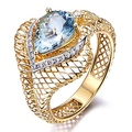 VS Aquamarine Engagement Ring,Pear Cut Blue Birthstone,14K Yellow Gold Engagement Ring,Marquise Design