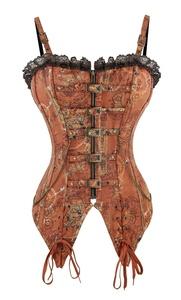 Killreal Women's Victorian Steampunk Steel Boned Overbust Corset Bustier Top Brown XX-Large