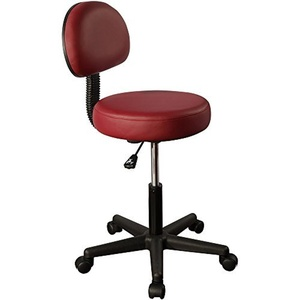 Mt Massage Tables Pneumatic Rolling Massage Stool with Backrest, Burgundy by Mt Massage Tables
