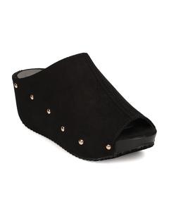 Refresh FG25 Women Faux Suede Peep Toe Studded Platform Wedge Mule - Black (Size: 8.0)