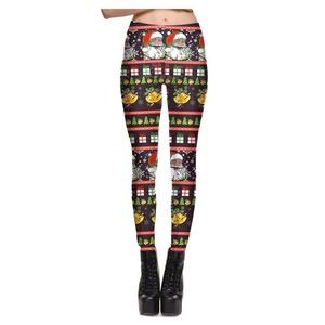 Women's Christmas Santa Claus Black Leggings Stretch Tights