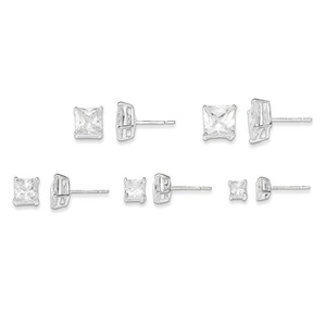 .925 Sterling Silver 7 MM Polished White CZ Post Stud Earrings Set