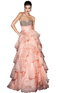 Angel Formal Dresses Women's Layered Floor Lenghth Sweetheart Rhinestone Organza Prom Party Evening Dress(10)