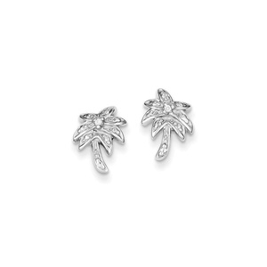 .925 Sterling Silver 13 MM CZ Palm Tree Post Stud Earrings