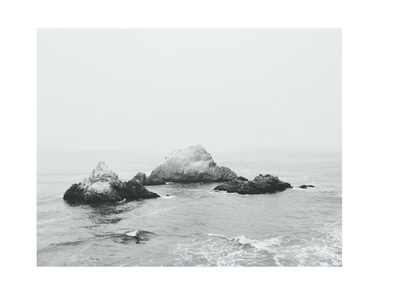 Misty Ocean View Poster Print Art, 11 x 14 Inches, Black White Grey Color, Modern Home Decor Office Space Artwork