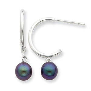 .925 Sterling Silver 6-7MM Black Freshwater Cultured Pearl Earrings