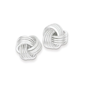 .925 Sterling Silver 14 MM Polished Love Knot Post Sud Earrings