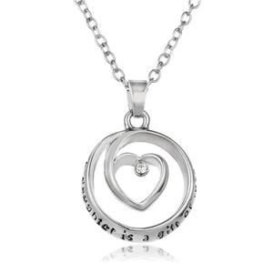 Rinhoo A Daughter Is a Gift for Love Engraved Pendant Necklace White Gold Plated