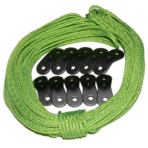 Tent Tools Guyline Adjuster Kit - 50ft Reflective Tent Rope with 10 Aluminum Tensioners (Green Rope Kit, 50)