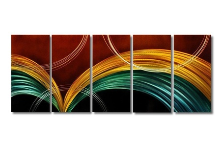 Abstract metal wall decor | 5 panel metal art 150cm x 60cm unique multi-colour artwork ideal living room and bedroom decor for the modern home or office