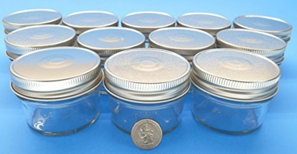 (Set of 12) 4 oz Mason Jars with Smooth Sides -Easy to Label with Silver Finished Safety Button Lids, Regular Mouth by Mason