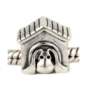 Leobeads Authentic 925 Sterling Silver Puppy Dog House Charms Beads Fits Pandora Style Snake Chain Bracelet