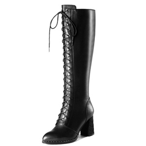 Nine Seven Genuine Leather Women's Pointed Toe Chunky Heel Lace Up Side Zip Closure Handmade Knee High Boot (6, red)