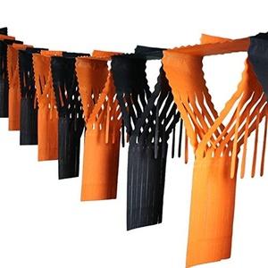 Crown Display Black & Orange Halloween Decoration Drop Fringe Garland 20 Inch. X 12 Feet. 2-Pack
