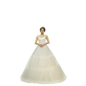 Wenlibridal Ball Gown Wedding Dresses Cap Sleeves Lace Appliques Beads Sequins Bridal Gown (US 8, Ivory)