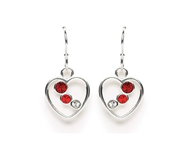 Tomas Jewelry Sterling Silver Red Gradient Crystal Heart Hook Earrings