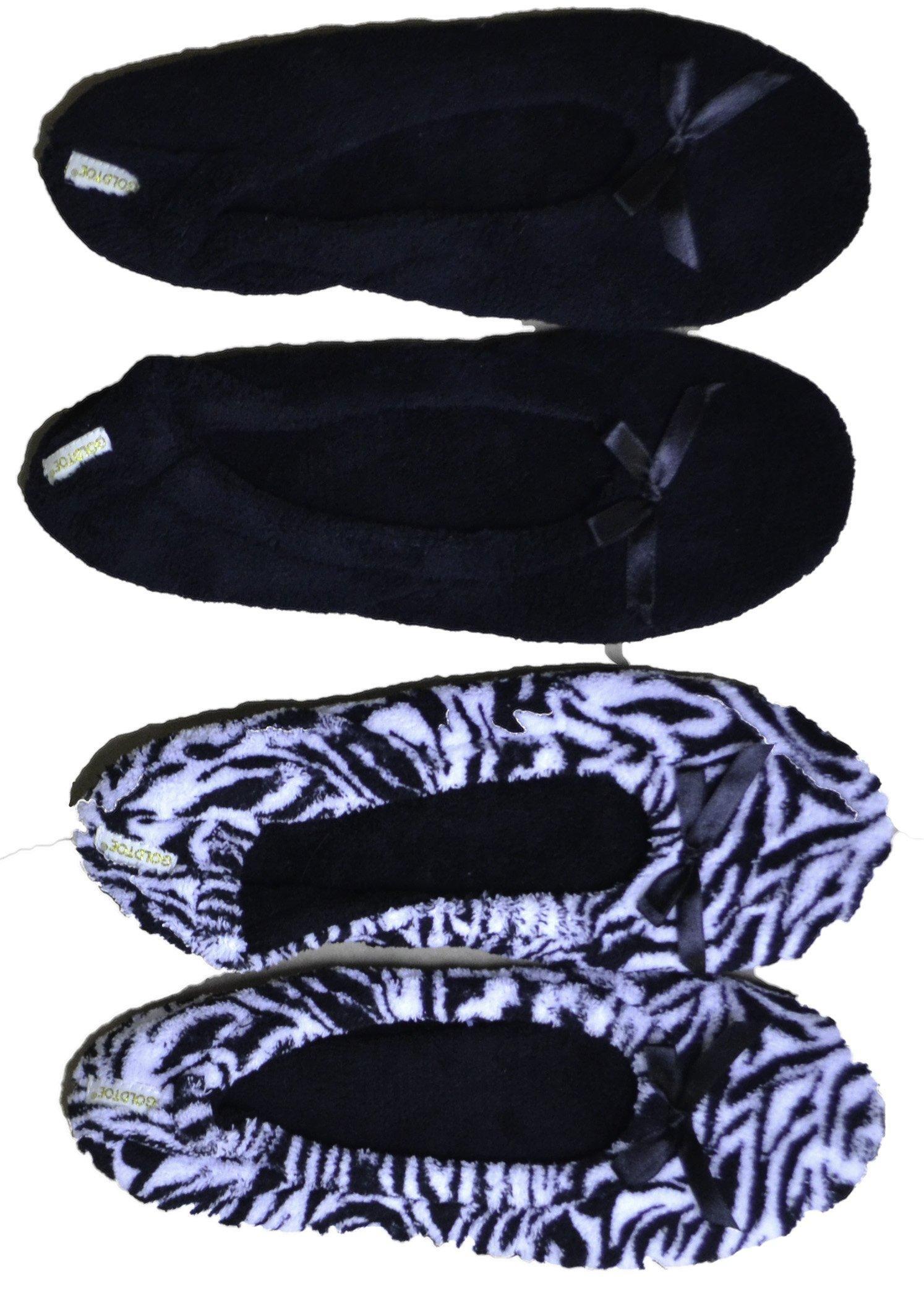Gold Toe Womens Plush 2 Pack Ballerina Slippers (Zebra/Black GTW40049)