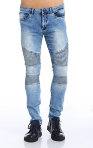 Ron Tomson Quilted Skinny Moto Jeans - Light Blue