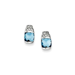 .925 Sterling Silver 10 MM Blue & Clear CZ Post Stud Earrings