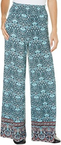 French Laundry Womens Medallion Print Pants Small Navy blue/multi