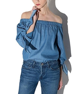 Women's Sexy Strapless Denim Blouses Off Shoulder Long Sleeve Top