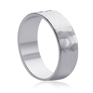 Free Engraving Personalized Sterling Silver 8MM Hammered Wedding Band Ring