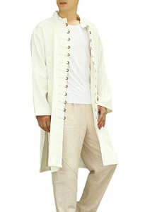 Plaid&Plain Men's Linen Stand Collar Chinese Traditional Copper Trench Coats White S