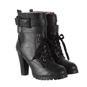 Show Shine Women's Chic High Heel Buckles Ankle High Martin Boots (6.5, black)