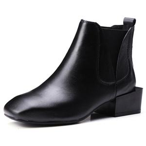 Nine Seven Genuine Leather Women's Square Toe Exquisite Heel Handmade Ankle Bootie (5.5, darkgreen)