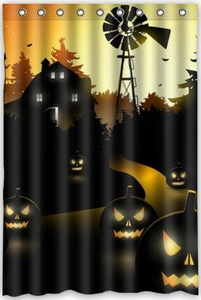 Hot Sale happy Halloween Gift Theme 100% Polyester Picture bathroom curtain Shower Curtain (48