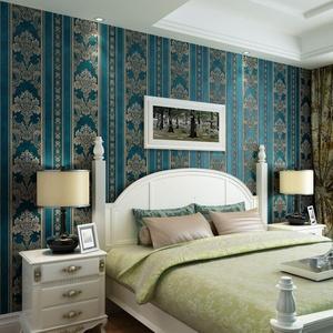 CCWY 3D non-woven cloth wallpaper continental vertical streaks wallpaper living room bedroom wallpaper TV wall