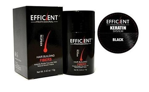 EFFICIENT Keratin Hair Building Fibers, Hair Loss Concealer Net Wt. 12gm / 0.42 oz (Black) by EFFICIENT